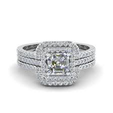 square engagement rings with halo asscher cut square halo engagement ring guard in 14k white