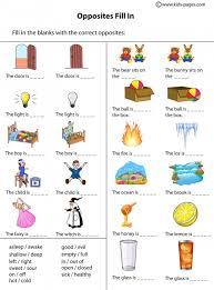 opposites worksheet worksheets