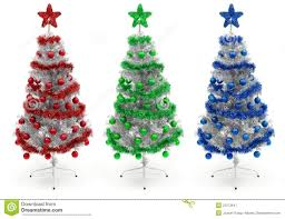 red green and blue decorated christmas tree royalty free stock