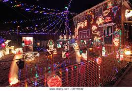 Christmas Decorations With Lights Uk by Christmas Lights Decorations Outside House Stock Photos
