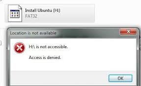 drive not accessible f and h is not accessible access is denied solution fix