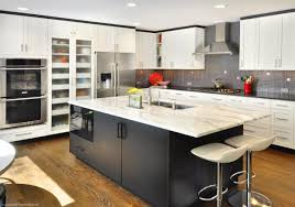 White Kitchen Cabinets With Black Island by Glamorous Marble Kitchen Table For Exclusive Cooking Space Ruchi