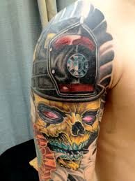 firefighter skull u0027 tattoo shoulder and arm shared by lion