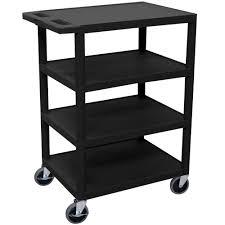 luxor bc45 black 4 shelf serving cart 18