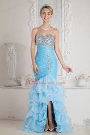 baby blue mermaid sweetheart high low organza ruch and beading
