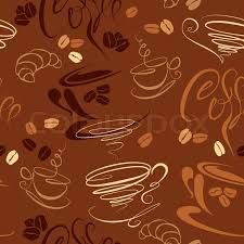 wallpaper coffee design seamless pattern with coffee cups beans croissant calligraphic