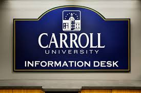 on break sign for desk information desk information desk my carrollu