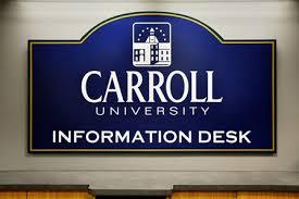 on break sign for desk information desk information desk my carrollu