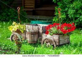 free wooden cart with flowers in a garden photos avopix com