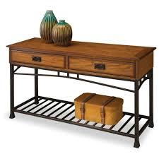 Metal Sofa Table Rustic Distressed Oak Sofa Table Metal Ladder Shelf Drawers Contry