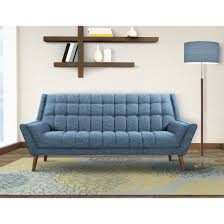 cobra mid century modern sofa in blue linen and walnut