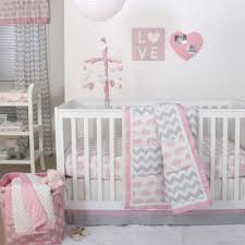 mini crib bedding sets for girls pink and gray elephants 3 piece mini crib bedding set carousel for