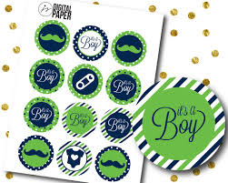 green blue baby shower cupcake toppers green mustache cupcake