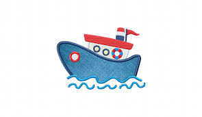 kids tug boat includes both applique and filled stitched daily