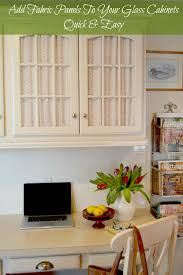 Kitchen Desk Cabinets How To Cover Glass Cabinet Doors With Fabric Exquisitely Unremarkable