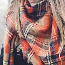 fall sale beautiful orange multi colored tartan plaid blanket