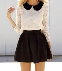black blouse with white collar pan collar shirt fashion collar shirts