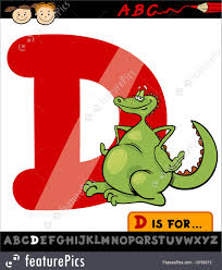 letters and numbers letter d with dragon cartoon stock