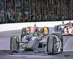 indianapolis 500 original art painting dan byl car racing contemporary 4x5 feet