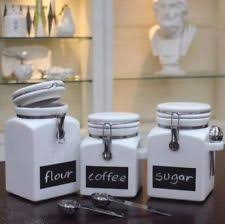 stoneware kitchen canisters stoneware canisters with scoops and chalkboard set of 3 ct1 ebay