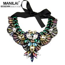 fashion statement collar necklace images Manilai women handmade exaggerate crystal big necklace bead bib jpg