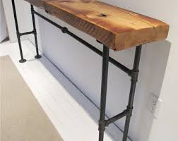 Pipe Desk Extra Thick Pipe Reclaimed Wood Desk Industrial Desk industrial console with iron pipe legsreclaimed wood from
