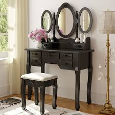 Makeup Vanity Seat Amazon Com Tribesigns Wood Makeup Vanity Table Set With 3 Mirror