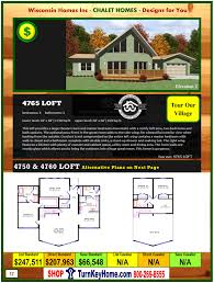 4765 loft e1 wisconsin homes inc modular chalet home plan price