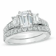 emerald cut wedding set 2 1 5 ct t w certified emerald cut diamond three bridal