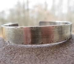 custom silver bracelets men s customized cuff bracelet sterling silver rustic weather