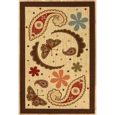 Paisley Area Rug Ottomanson S Kitchen Collection Paisley Design Beige 5 Ft X