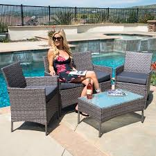patio table with 4 chairs belleze 4 pc furniture outdoor set 4 piece rattan outdoor patio set