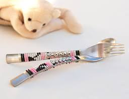 personalized spoons made personalized childrens spoon and fork set beaded
