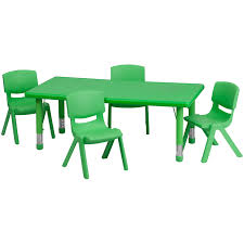 Rectangular Table L 24 W X 48 L Adjustable Rectangular Green Plastic Activity Table