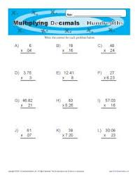 multiplying decimals printable worksheets fifth grade math