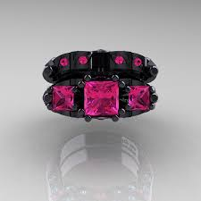 black and pink wedding ring sets designer classic 14k black gold three princess pink sapphire