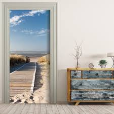 compare prices on modern lanes online shopping buy low price free shipping 3d wooden lane to sea door wall stickers diy mural bedroom home decor poster