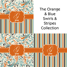 Orange And Blue Curtains Orange Blue Leafy Swirls Shower Curtain Personalized Potty