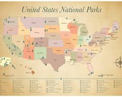 map us national parks us national park map etsy