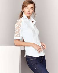 finley blouses lyst finley burnout sleeve button front blouse in white