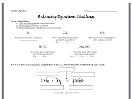 balancing equations challenge directions science chemistry