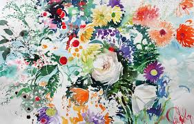 painting watercolour flowers in gardens