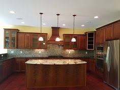Medium Oak Kitchen Cabinets Painted Oak Cabinets To Look Like Cherry Pendant Lighting Is