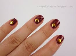 Wide Nail Beds Nail Polish Anon Red U0026 Gold Kkcentrehk 4mm Square Gold Stud Review