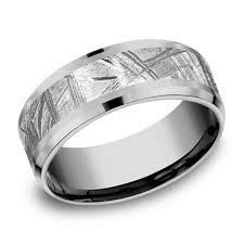 Meteorite Wedding Ring by Benchmark Tantalum 8mm Meteorite Wedding Band With Beveled Edges