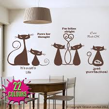 cool cats wall decal art stickers lounge living room kitchen chocolate cool cats wall decal dining room