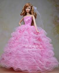 free shipping pink wedding dress clothes barbie doll dolls