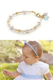 Childrens Gold Bracelets Beadifulbaby Flower Keepsakes My First Pearls Pearl