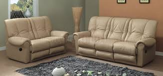 Beige Reclining Sofa Beige Leather Contemporary Living Room Sofa W Recliner Seat