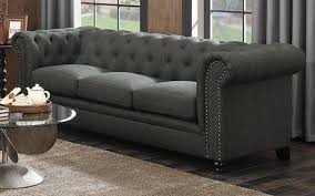 Grey Button Sofa Roy Traditional Button Tufted Sofa With Rolled Back And Arms